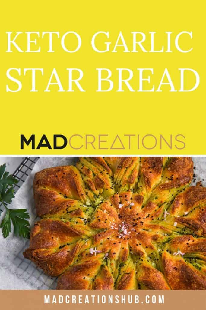 Keto Garlic Fathead Star Bread pinterest banner