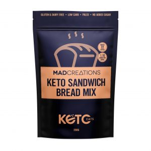 Mad Creations Keto Sandwirch Bread mix packet on a white background
