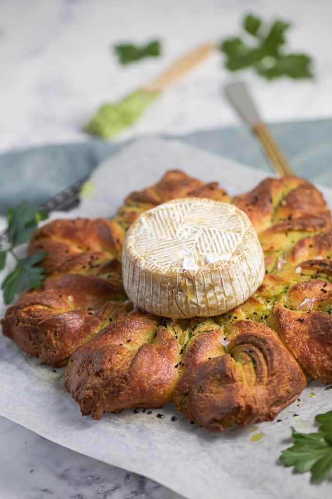 garlic fathead bread with baked brie on top