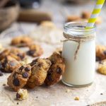 glass of milk and choc chip cookies