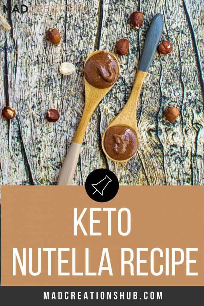 keto nutella on 2 spoons on a wood table