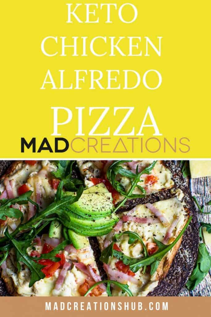 chicken pizza with rocket and avocado on top