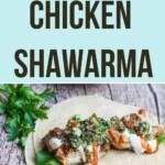 a chicken shawarma on a pita wrap