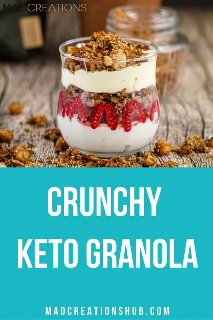 Crunchy Keto Granola ina glass with granola all around it