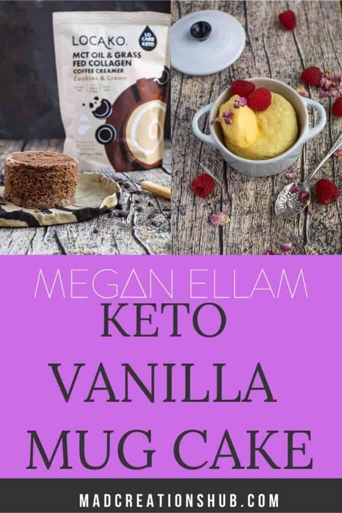 Vanilla Keto Mug Cake Pinterest banner