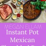 Mexican beef ingredients and a bowl of slow cooked beef