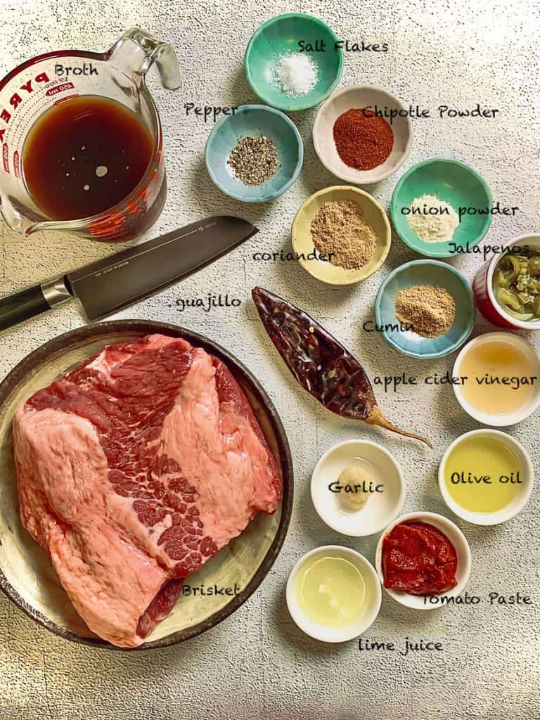 Instant Pot Mexican Shredded Beef ingredients