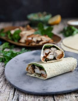 Keto Chicken Shawarma on a grey plate