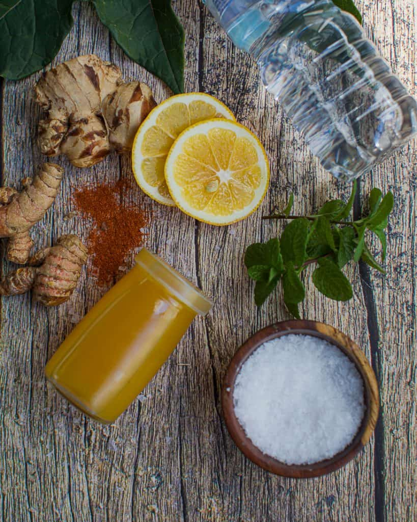 the ingredients for a ginger elixir recipe