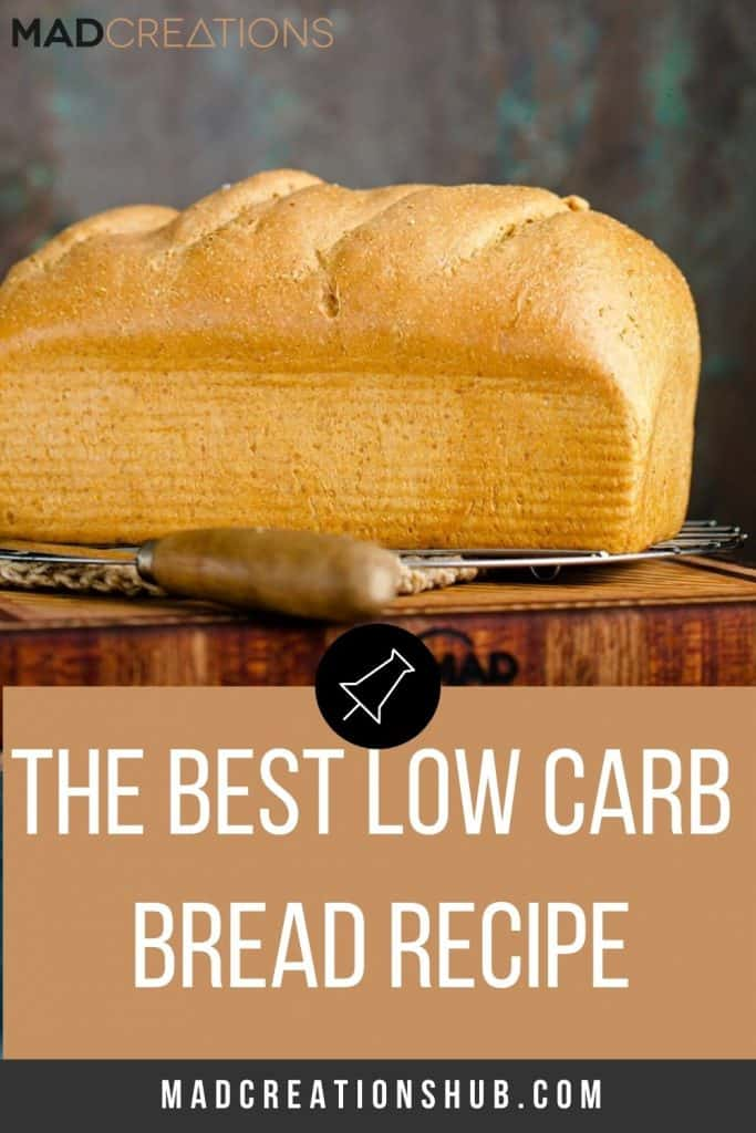 loaf of low carb bread on browny blue background