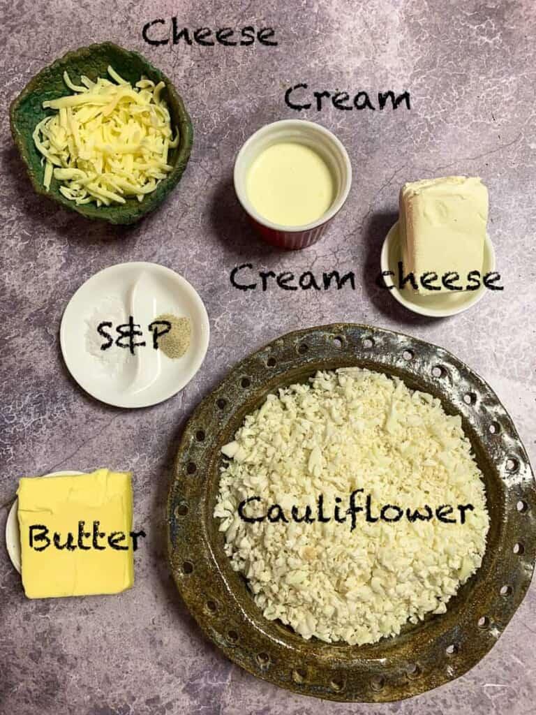 bowl of ingredients for a keto mash potato