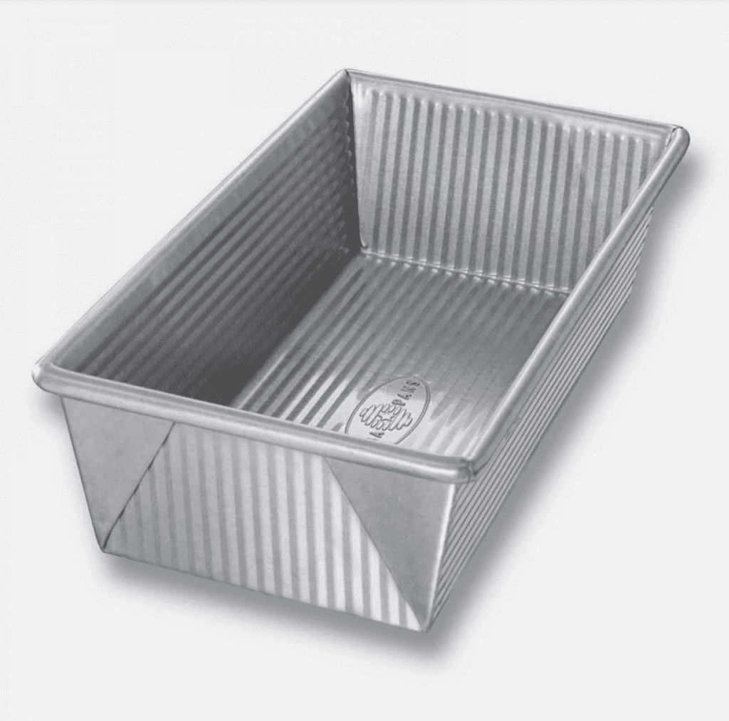 silver loaf tin on white background