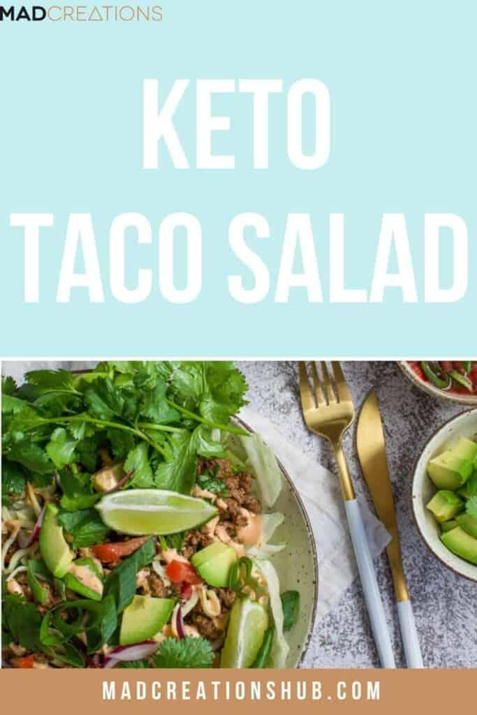 Keto taco salad in a white bowl