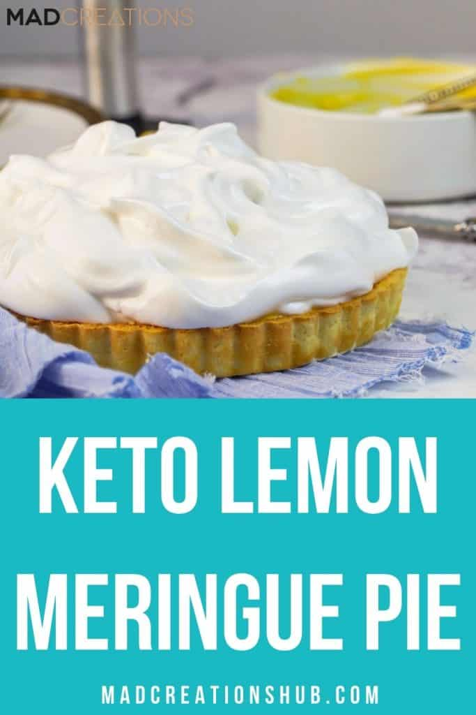 Keto Lemon Meringue Pie on a blue cloth