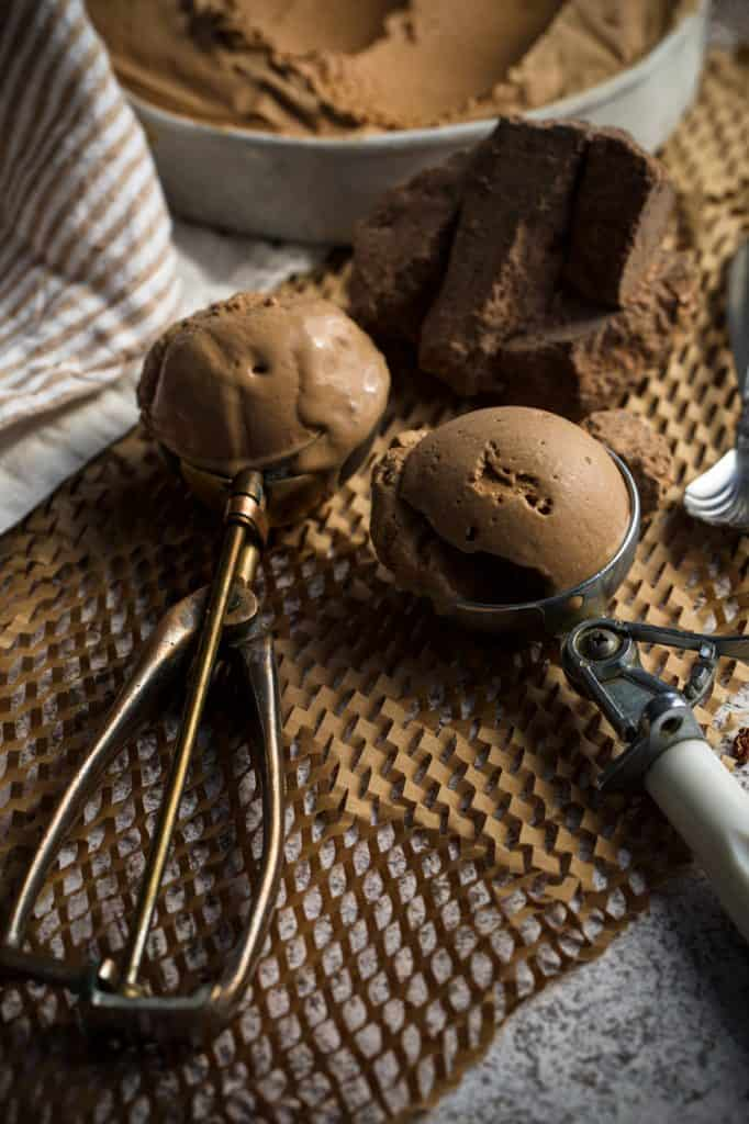 close up of chocolate ice cream scoops