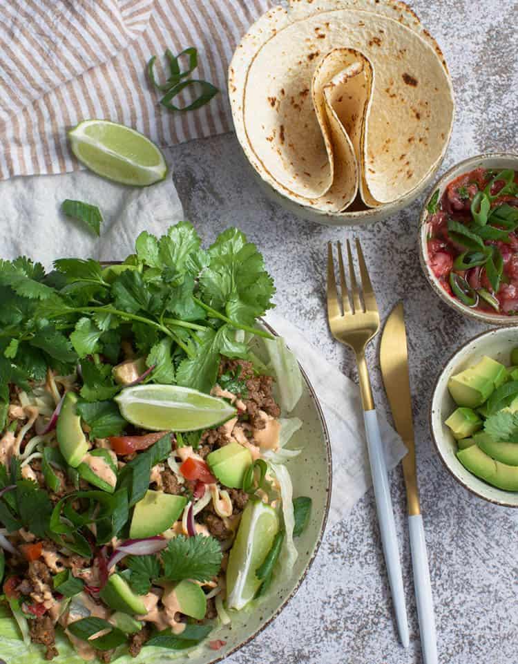 Keto Taco Salad with salads on the side