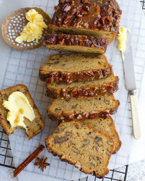 sliced nut loaf on a wire rack