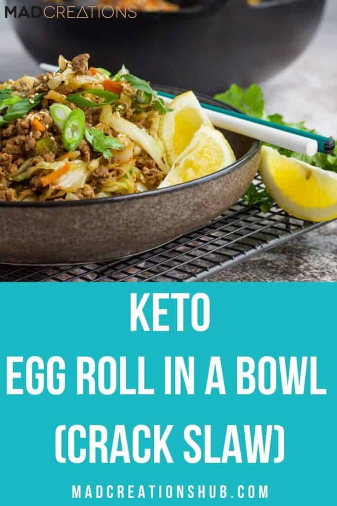 Low Carb Egg Roll in a Bowl on a pinterest banner