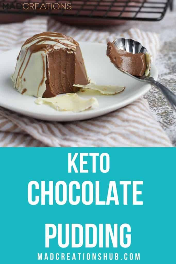Keto Chocolate Pudding on a white plate