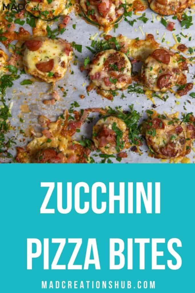 Zucchini Pizza Bites on a pinterest banner