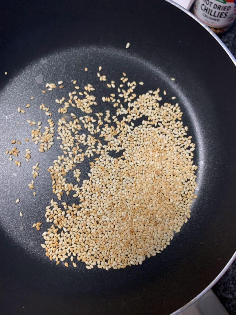 toasted sesame seeds in a pan