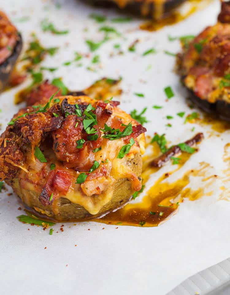 Pizza Stuffed Mushrooms on a baking tray