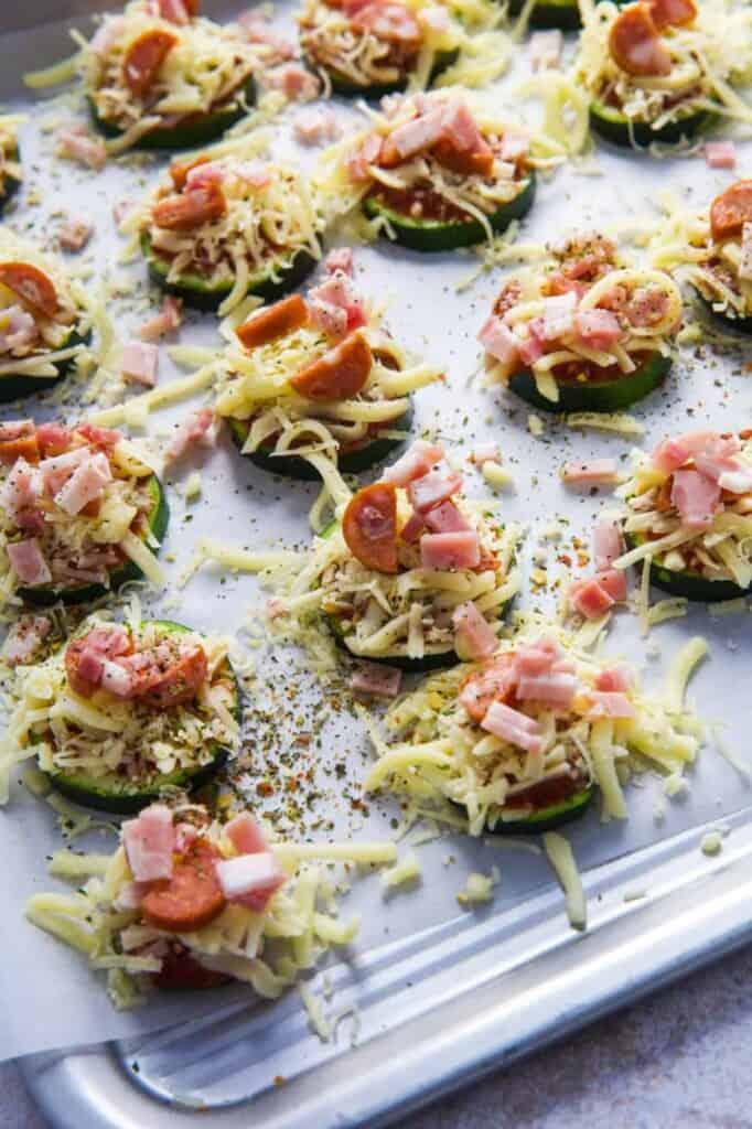 Zucchini Pizza Bites on a baking tray