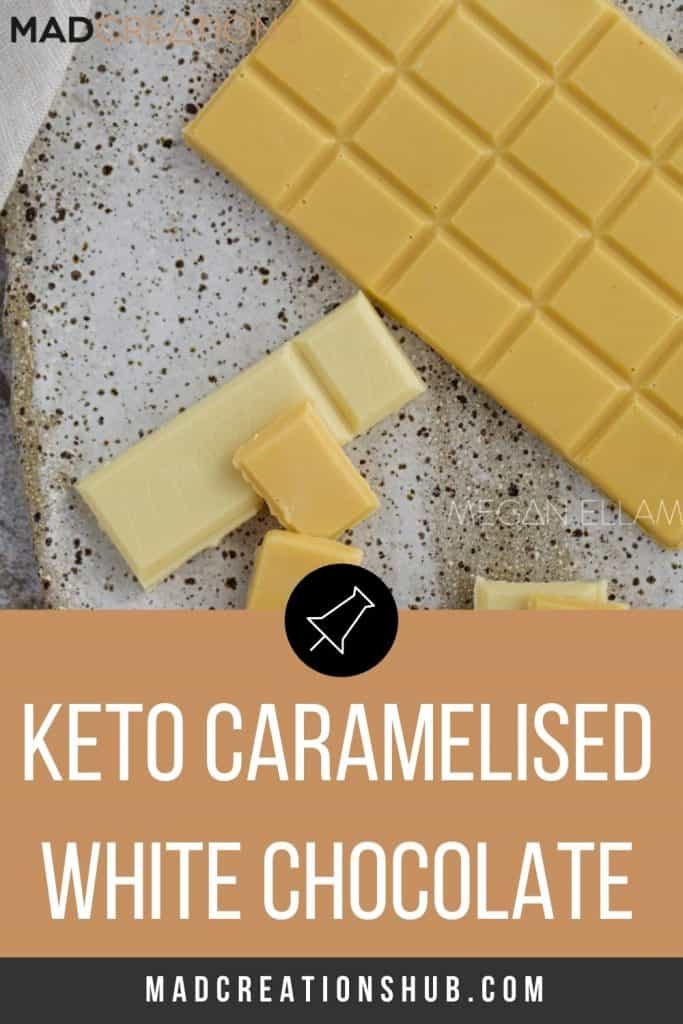 Keto Caramelized White Chocolate on a speckled plate