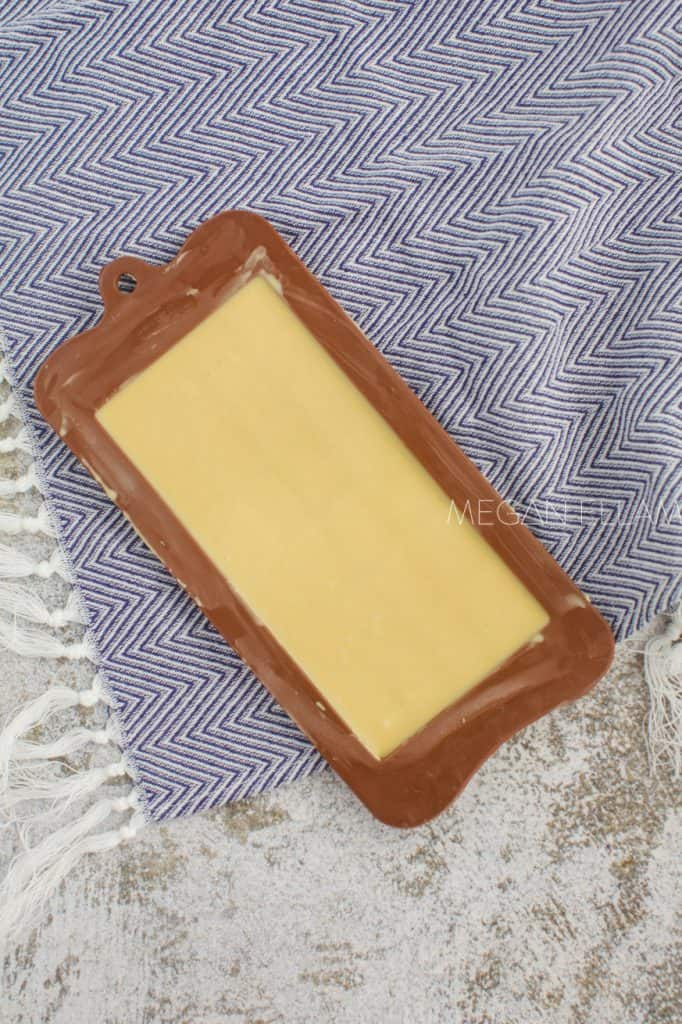 keto caramelised white chocolate in a silicone mould