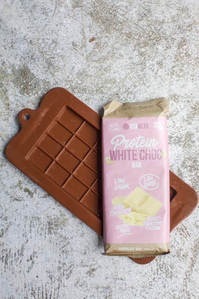 White Chocolate on top of a chocolate mould