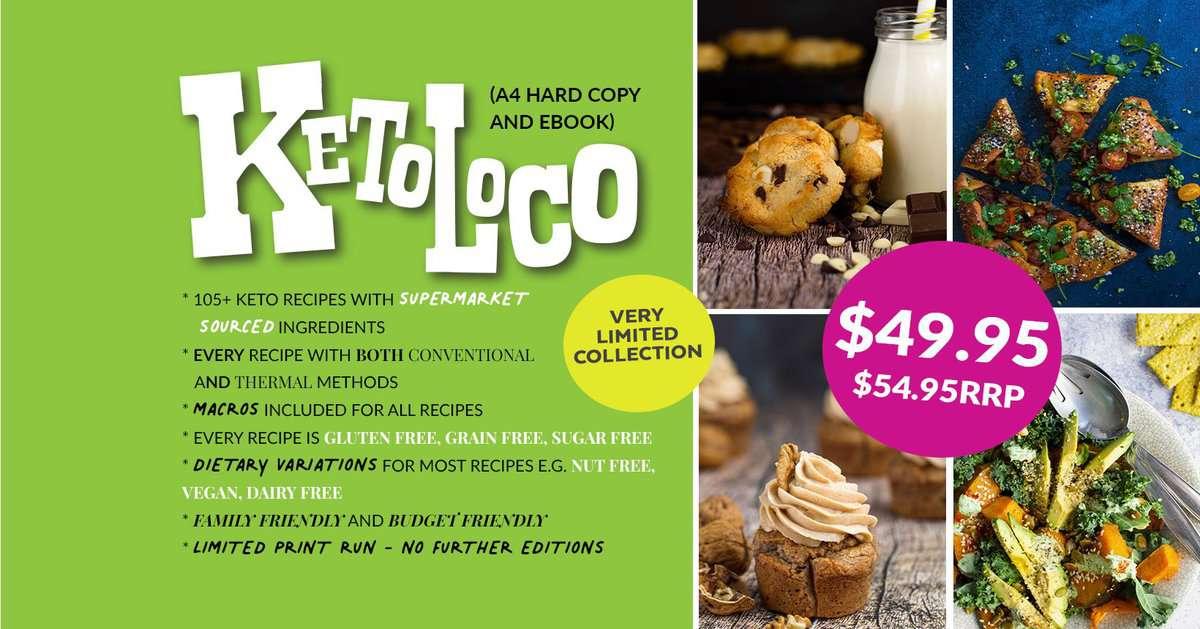 a banner of a keto loco cookbook.