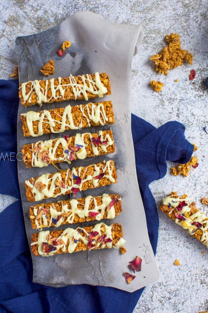 muesli bars on a grey platter