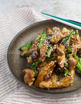 Keto Teriyaki Chicken in a brown bowl on a white table