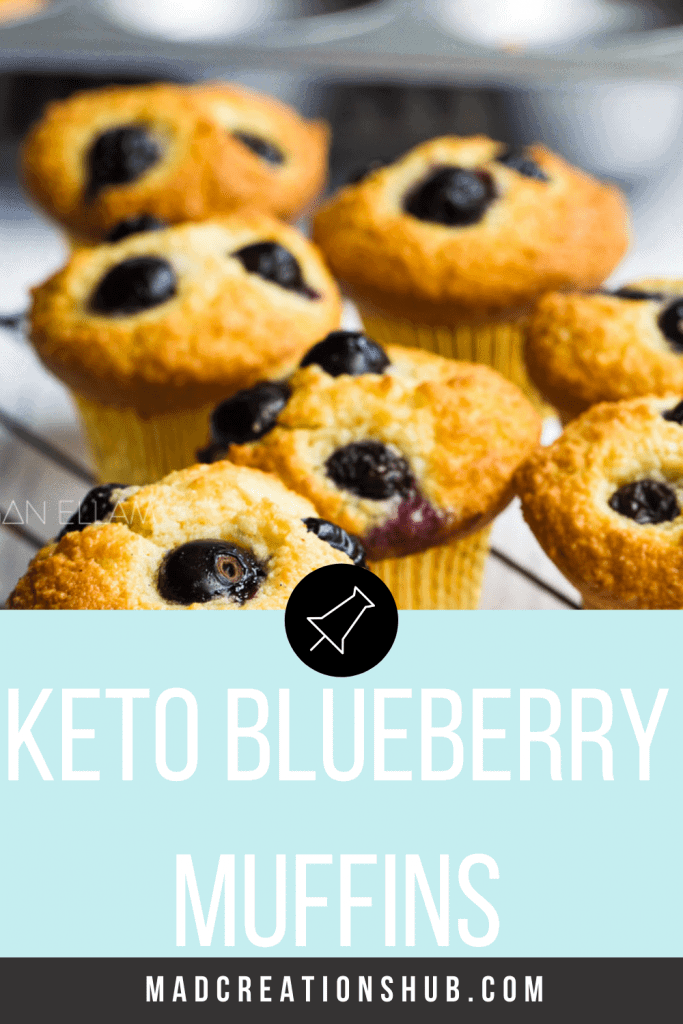 Keto Blueberry Muffins on a wire rack