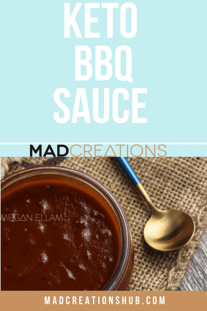 Keto BBQ Sauce in a glass bowl with a spoon above it
