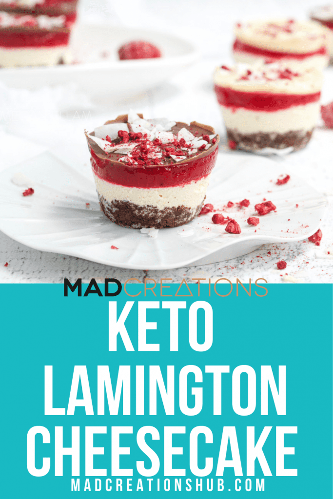Keto Lamington Cheesecake on a white plate
