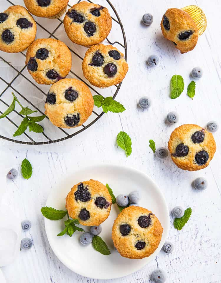 blueberry muffins on a whote plate and cooling rack with berries and mint scattered