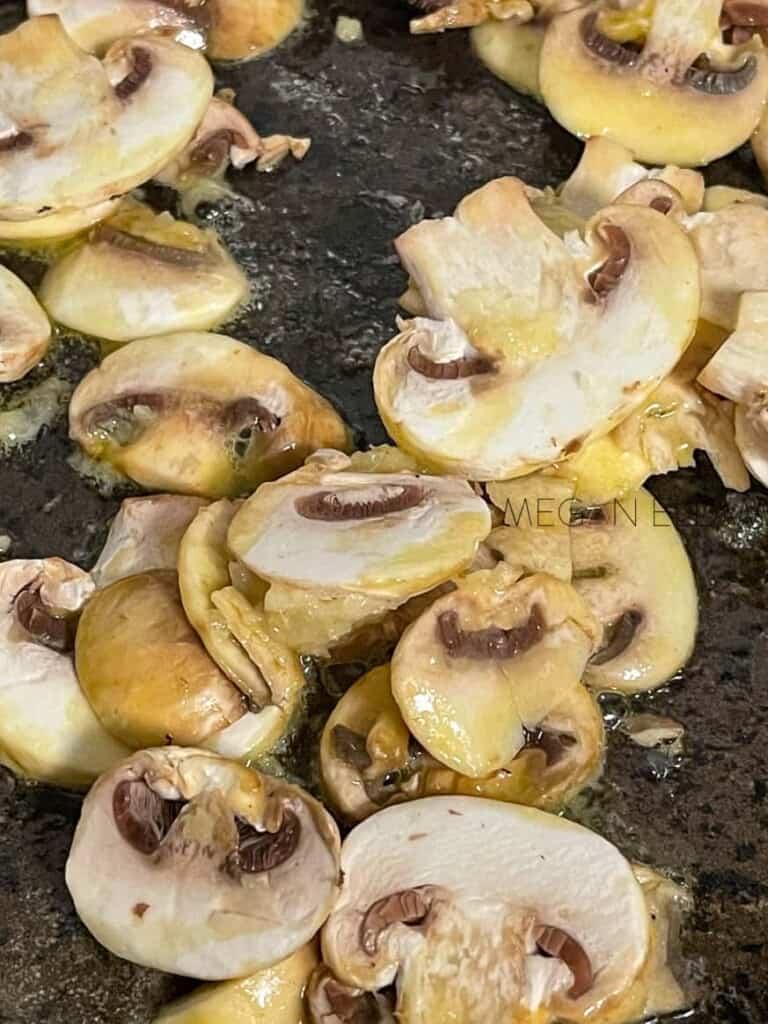 mushrooms in a frying pan