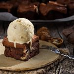 a chocolate brownie with ice cream on top