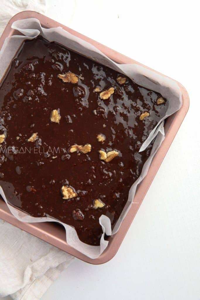 chocolate batter in a baking pan.