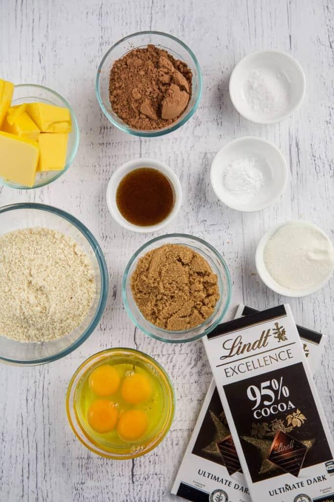 bowls full of brownie ingredients