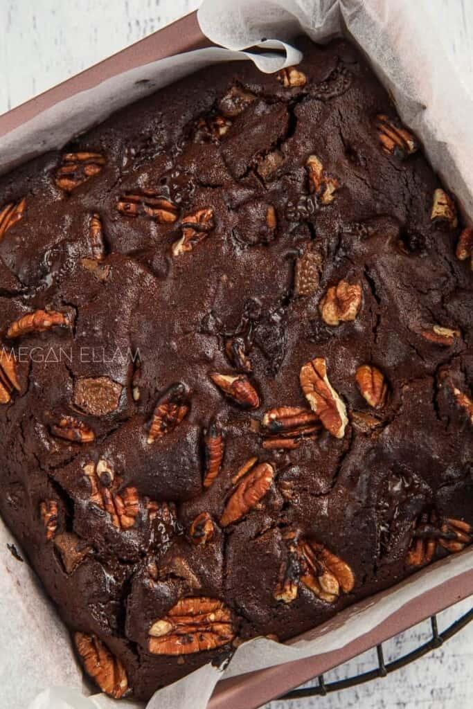 Baked brownie in a pan.