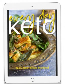 every Day Keto book cover on an ipad screen.