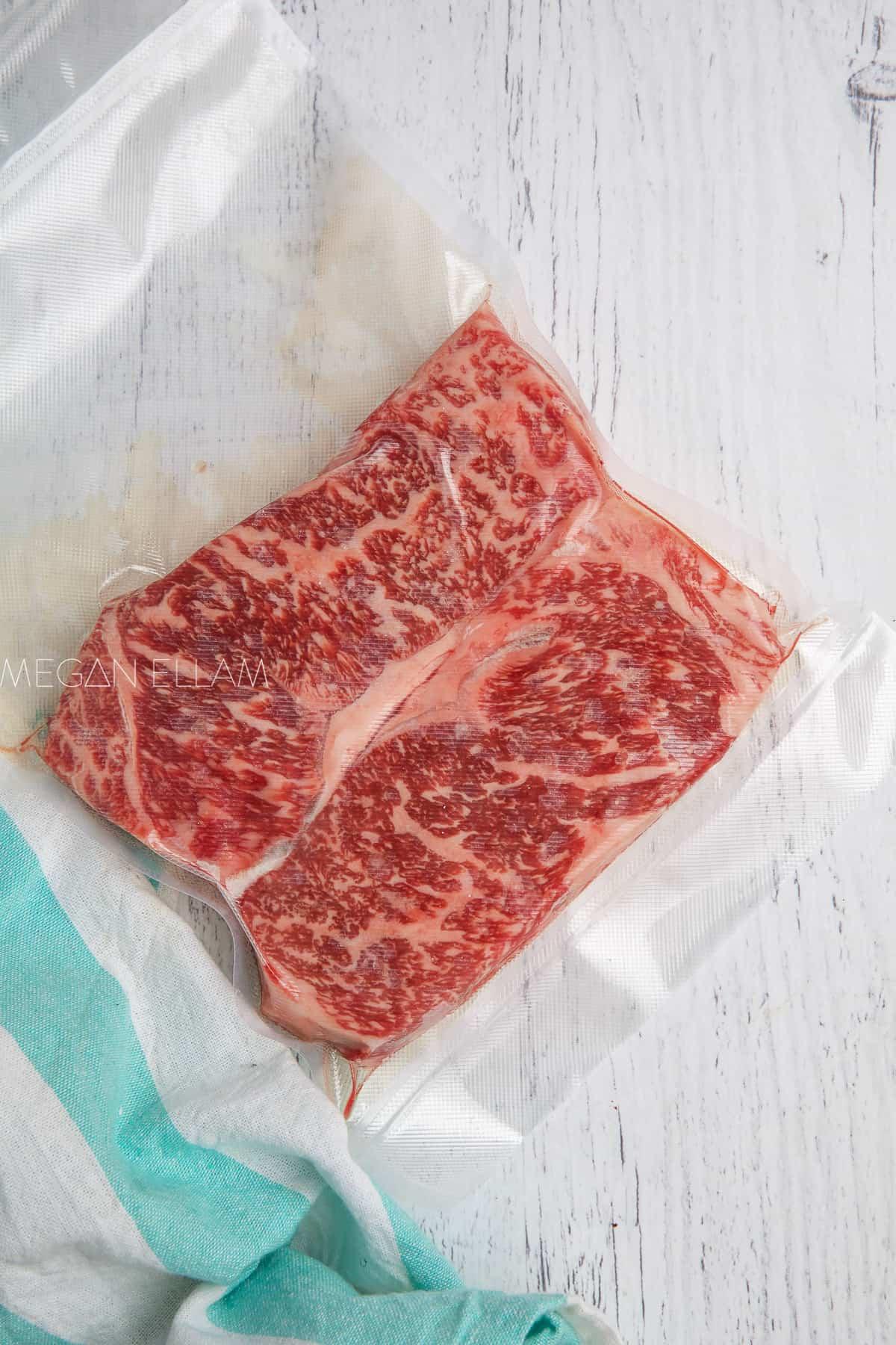 wagyu steak in a sous vide bag.