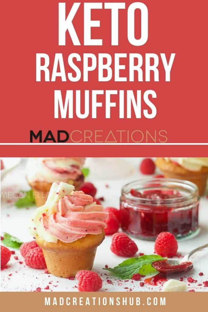 Raspberry muffins with berries and jam.