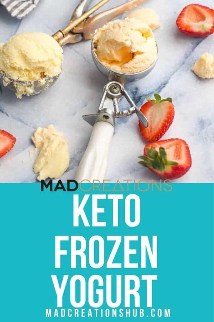 frozen yogurt scoops with strawberries.