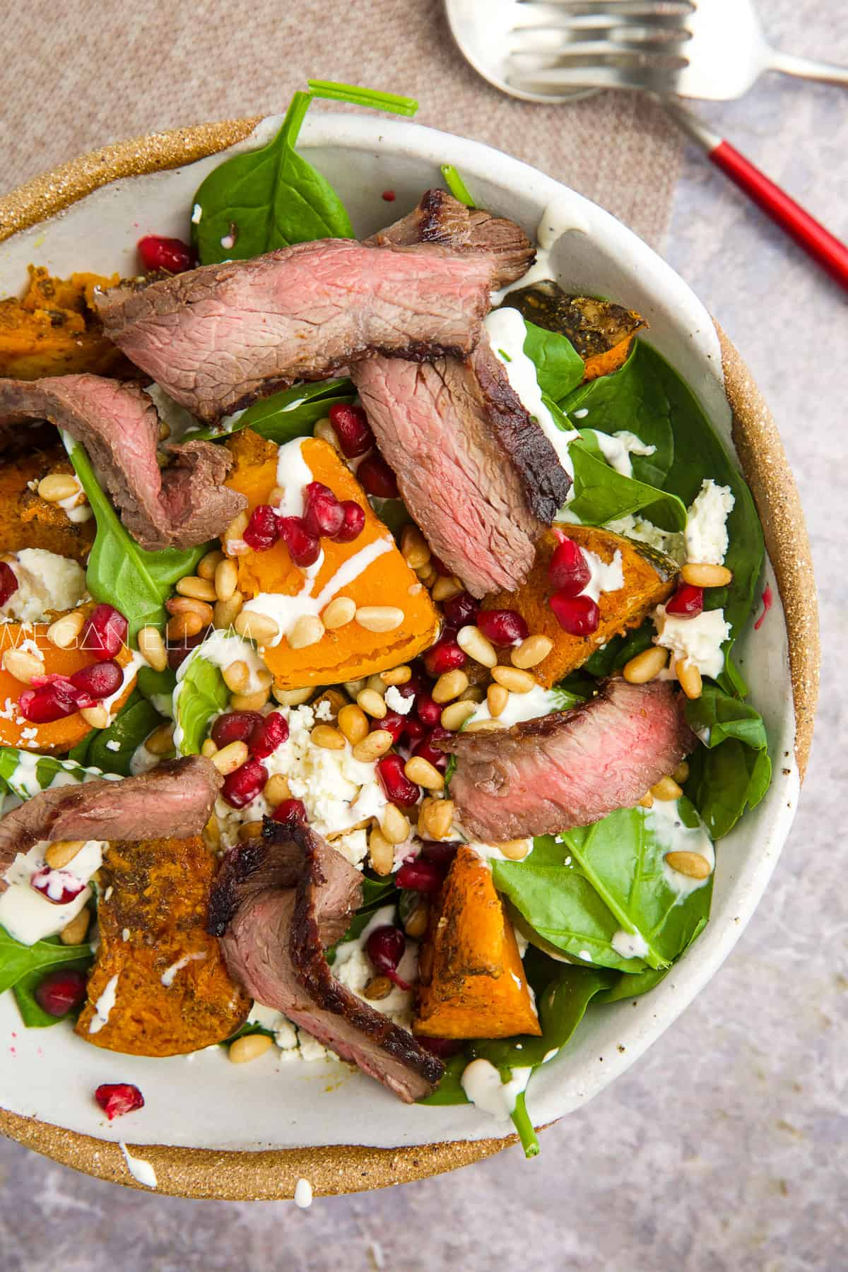 Beef salad in a bowl.