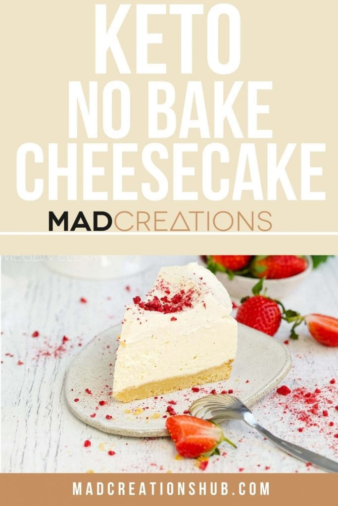 A piece of keto cheesecake on a Pinterest banner.