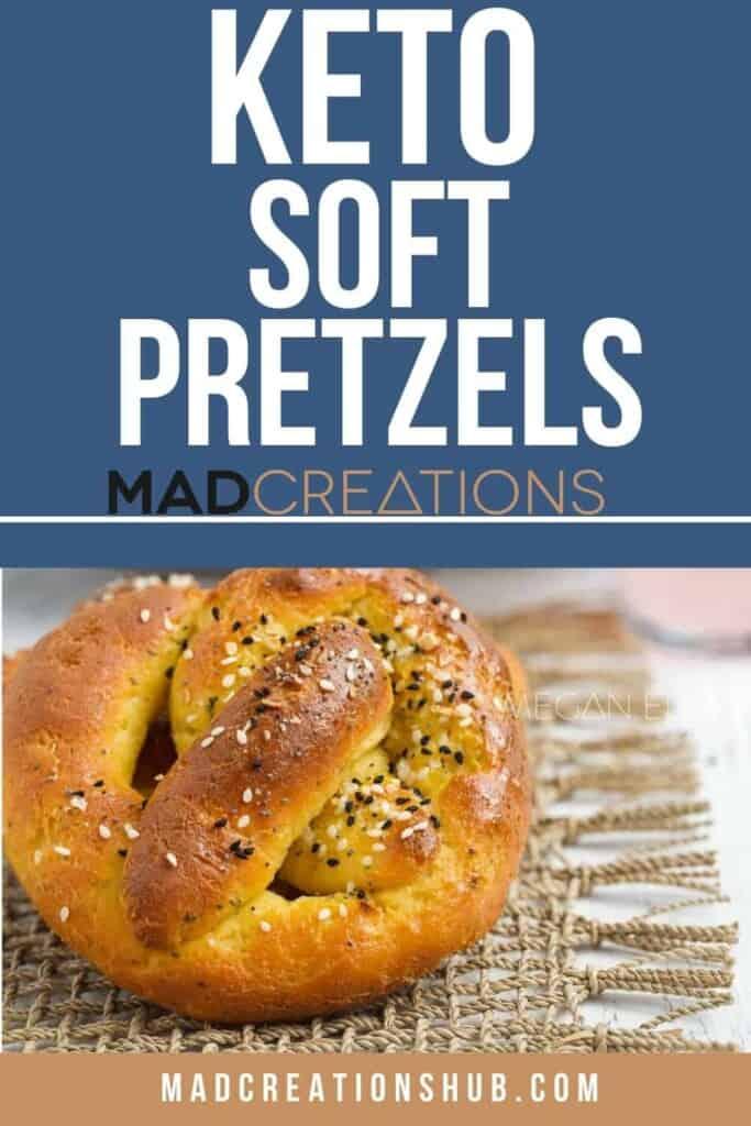 A pretzel on a pinterest banner.