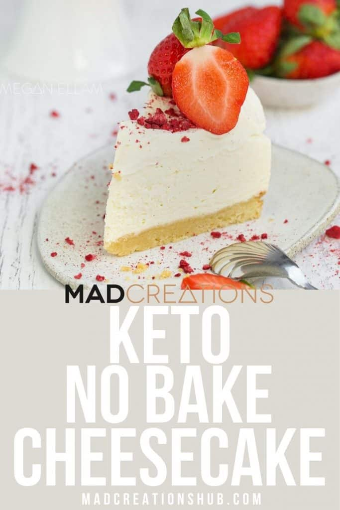 A slice of cheesecake on a Pinterest banner.